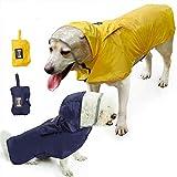 Petneces 犬用 ペットレインコート ポンチョ式 反射テープ ポケット フード付き リード穴あり 通気 軽量 散歩 防水 着せやすい (XXL, イェロー)