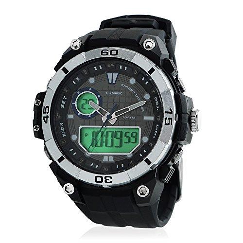 TEKMAGIC 10気圧100メートルスポーツ防水腕時計風呂水泳ダイビングに適す ストップウォッチ機能付き デュアルタイムゾーンの表示 LEDバックライト付き(W17-Y)