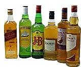 6本・飲み比べスコッチウイスキー・ジョニ赤・デュワーズ・J&B・ティーチャーズ・フェイマスグラウス・カティーサーク