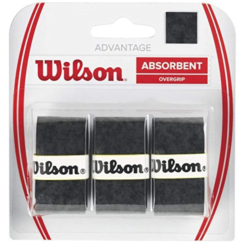 Wilson Advantage Tennis Racquet Over Grip (Pack of 3), Black