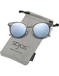 SojoSソホス リフレクティア ミラーフレーム 丸いスングラス UV400  SJ1050