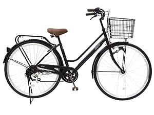 CHACLE(チャクル) 空気入れ不要! ノーパンク自転車 軽快車 27インチ [外装6段変速、パラレルフレーム、LEDオートライト] ブラック FN-CC276W-HD