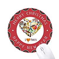 トライアンフの心の愛パリフランスエッフェルアーチ 円形滑りゴムのクリスマスマウスパッド