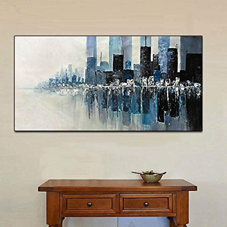 油絵装飾的な エレガントな純粋な手描きの油絵抽象グレービルディング寝室用リビングルームダイニングルーム家の装飾フレームなし 家の装飾のためのウォールアート (サイズ : 60×100cm)