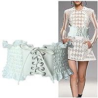 Anamony 女性のストレッチスカートシャツファッションシンプルレザーベルト用レースレースストラップ (色 : ホワイト)