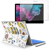 Surface pro6 pro2017 pro4 専用スキンシール ガラスフィルム セット 液晶保護 フィルム ステッカー アクセサリー 保護 夏 海 うちわ 014123