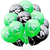 Toyvian 結婚式の誕生日パーティーのための20個のラテックス風船装飾恐竜風船10インチ(緑と黒)を支持します。