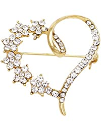 Rosemarie Collections Women's Heart Brooch Pin with Sparkling Rhinestone Flowers