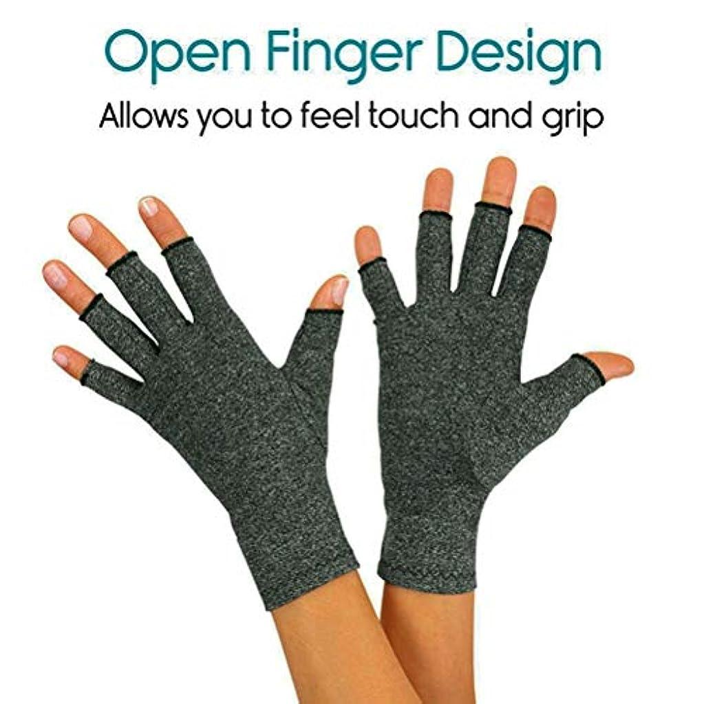 汚れた植物学者同行する手袋の関節炎圧力健康手袋麻グレーハーフフィンガーグローブ高弾性通気性のアンチ腫れリハビリテーショングローブ (Size : M)