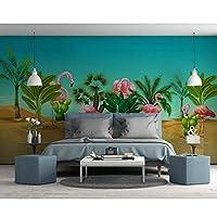 Mingld 3D壁紙モダンなミニマリストファッション手描き熱帯植物フラミンゴ北欧スタイルの背景の壁画400X280Cm