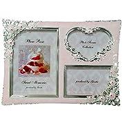 3つ窓 写真立て オルゴール ピンク 曲目:ありがとう(いきものがかり) 複数写真が入る フォトフレーム 感謝 お礼 両親 贈り物 誕生日プレゼント 女性