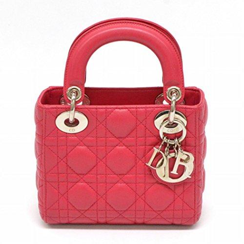 クリスチャン ディオール Christian Dior レディディオール ミニ カナージュ 2WAY 斜め掛け ショルダーバッグ ピンク シルバー金具 中古