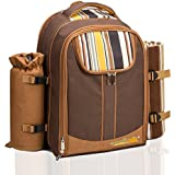 ALLCAMP Picnic Backpack Bag for 4 Person with Cooler Compartment, Detachable Bottle/Wine Holder, Fleece Blanket, Plates and Cutlery (Coffee) …