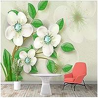 山笑の美 カスタム壁紙グリーンシンプルな3Dフラワージュエリーテレビの背景の壁画-200X150CM