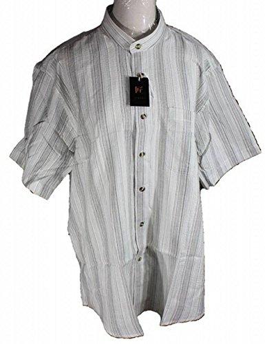 (アローズ) ARROWS メンズ スタンドカラー シャツ 半袖 しじら織 和風 立ち襟 (L, グレー系3#)