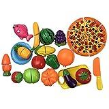 24個セットおままごと キッチンおもちゃ クッキングトイ 切れる 調理セット野菜&果物 ギフト 包丁とまな板付き 知育玩具