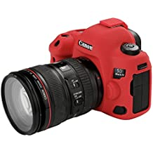 Canon EOS 5D Mark IV Protective Case Professional Silicone Rubber Camera Housing Case Cover Detachable Antiscratch shockproof Full body Protective case for Canon EOS 5D MARK IV (Red)