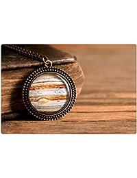 木星のペンダント、アンティーク真鍮ペンダント、ガラスドームペンダント、アンティーク真鍮ネックレス、ガラスドームのネックレス、木星のネックレス