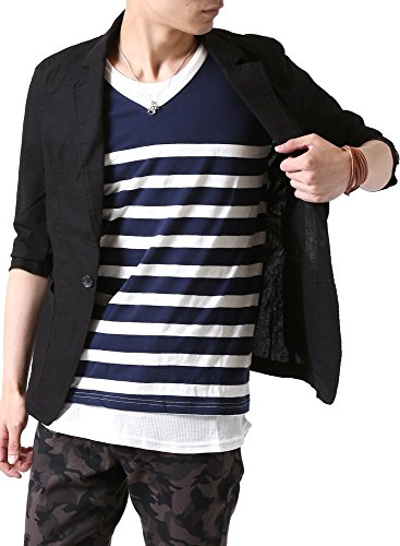 (アーケード) ARCADE メンズ 春 夏 綿麻 リネン 細身 七分袖 テーラードジャケット