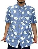 (マルカワジーンズパワージーンズバリュー) Marukawa JEANS POWER JEANS VALUE シャツ メンズ 半袖 クジラ柄 シャンブレー Fat Animals 2color M ブルー
