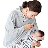 DORACO 授乳ケープ フードつき ポンチョ 型 人気 【巾着付き】助産師が提案360度安心授乳カバー(グレー)