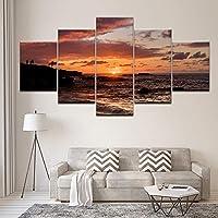 Wlhbh 5ピースキャンバスウォールアート 壁絵画キャンバスモジュラーアート画像サンライズ海と石のポスターとプリントホームデコレーション用リビングルーム フレーム付き装飾画-40x60 40x80 40x100cm