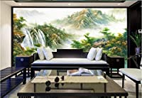 Bzbhart 3D壁画の壁紙壁画シルク画像 山の森の滝の絵 壁の壁画-450cmx300cm