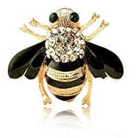 Apol Fashion Exquisite Enamel Crystal Rhinestones Insect Themed Bee Brooch Pin in a Gift Box for Women's Clothing Scarf Decor