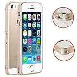 【ノーブランド品】 iPhone5/5s アルミバンパー 極薄0.7mm 超軽量 ネジなしワンタッチ装着 (シャンパンゴールド)