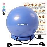 RGGD&RGGL バランスボール55cm 厚い固定リング+トレーニングチューブ付き アンチバーストヨガボール 環境にやさしい アレルギー防ぎエクササイズボール 椅子 耐荷重997kg ジム/ホーム/オフィスなどに適用 (55㎝, 青)