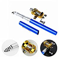 (Blue) - Ouguan Pocket Size Pen Shaped Collapsible Fishing Rod Pole and Spinning Reel Combo