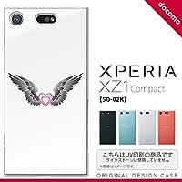SO02K スマホケース Xperia XZ1 Compact SO-02K カバー エクスペリア XZ1 翼(ハート) 黒×白 nk-so02k-469