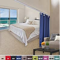 A & Fロッド飾り – Room Divider天井トラックwithカーテンセット8 ft高さ 12ft - 18ft Wide x 8ft Height AF-DVD6FT-3PC-T04-120096-2PC