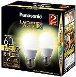 パナソニック LED電球 口金直径26mm プレミアX 電球60形相当 温白色相当(7.4W) 一般電球 全方向タイプ 2個入り 密閉器具対応 LDA7WWDGSZ62T