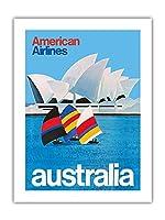 オーストラリア - オペラシドニー - アメリカン航空 - ビンテージな航空会社のポスター c.1969 -プレミアム290gsmジークレーアートプリント - 46cm x 61cm