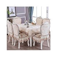 YANFEI テーブルクロス, テーブルカバー リネン, 長方形 テーブルカバー, 汚れ防止,豊富な、ヨーロッパスタイル、テーブルクロスクッションセット (Color : D, Size : 130*180cm+6 cushion 6 backrest)