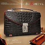 【RED SMITH/レッドスミス】高級牛革リアルクロコダイル型押しセカンドバック 黒赤