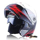 X.N.S(希望)新出荷(6色可選) LV-701 バイクヘルメット フルフェイスヘルメット システムヘルメット モンスターエナジー ダブルシールド ジェット ヘルメット (L, モンスター・黒(艶有り))