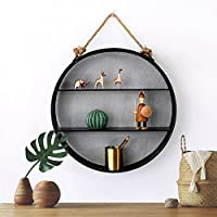 北欧円形装飾フレーム、居間壁掛けクリエイティブアイアンシェルフ、モダンミニマルウォールデコレーションディスプレイラックストレージラック