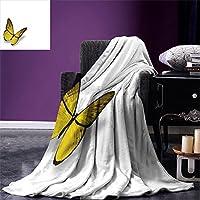 """smallbeeflyイエローThrow BlanketプルメリアFrangipaniアジアキュートFlower Blossomパターンハワイアンスタイルアートワーク暖かいマイクロファイバーすべてシーズン毛布ベッドやソファイエローとホワイト 90""""x70"""""""