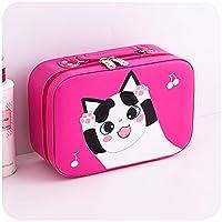 化粧ポーチ 小さい, 化粧バッグ旅行 ポータブル な 猫 かわいい 大容量 多機能 パッケージ 収納ボックス 女性化粧品バッグ-ローズレッドA 23x9x15.5cm(9x4x6inch)