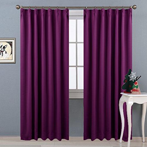 NICETOWN遮光カーテン 2枚セット 紫 目隠し リビング UVカット 睡眠 幅100cm丈178cm