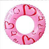 Okiiting 女の子かわいいハート型の水泳リングピンクの水泳リングインフレータブルPVCスイミングプールのおもちゃ女の子に適して うまく設計された