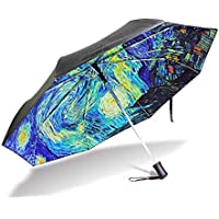 YZGO Outer Black Umbrella Painting Artwork Van Gogh's Starry Night UV Anti Lightweight Parasol Elegant Reverse 3 Folding Drop Sturdy Umbrella Special Gifts for Business & Personal