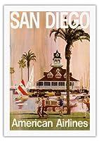 サンディエゴ - アメリカン航空 - アメリカン航空 - ビンテージな航空会社のポスター によって作成された V. K. c.1970 - 美しいポスターアート
