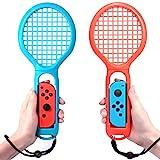 マリオテニス エースに対応テニスラケット Nintendo switch Joy-Con ハンドル 2個セッット マリオテニスなどのテニスゲームに対応 落下防止ストラップ付き 軽量ABS製 テニスゲームの臨場感 2点セット (ブルー?レッド)