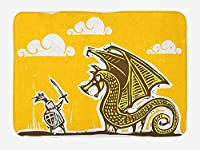 Dragon Bath Mat, Knight with Shield in Steel Armour Against Dragon with Wings Cartoon Middle Ages Design, Plush Bathroom Decor Mat with Non Slip Backing, 23.6 W X 15.7 W Inches, Yellow