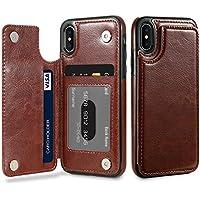 スマホケース 背面保護 FLOVEMEクレイジーホースは、カードスロットとブラケット付きIPhone Xのフリップレザーケースをテクスチャ Phone カバー 保護スマホケース (色 : コーヒー)