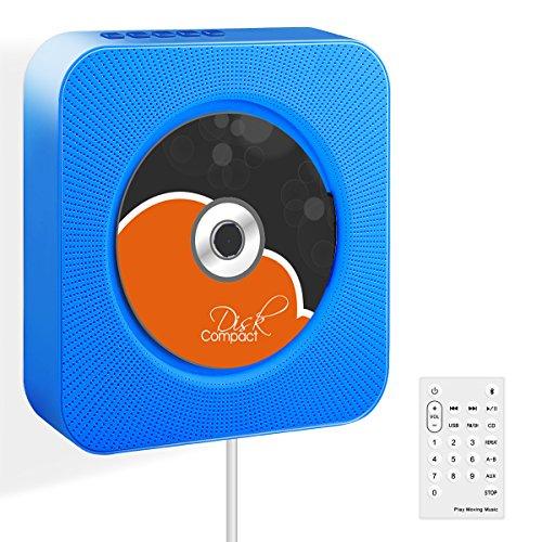 CDプレーヤー Wrcibo ポータブル 壁掛け式 CD再生 Bluetooth/FM/USB対応 リモコン付き スピーカー 小型 軽量 置き&掛け兼用 音楽再生/語学学習/胎児教育 (ブルー)