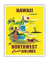 ハワイ - ノースウエスト・オリエント航空 - ビンテージなハワイの旅行のポスター c.1960s - アートポスター - 41cm x 51cm